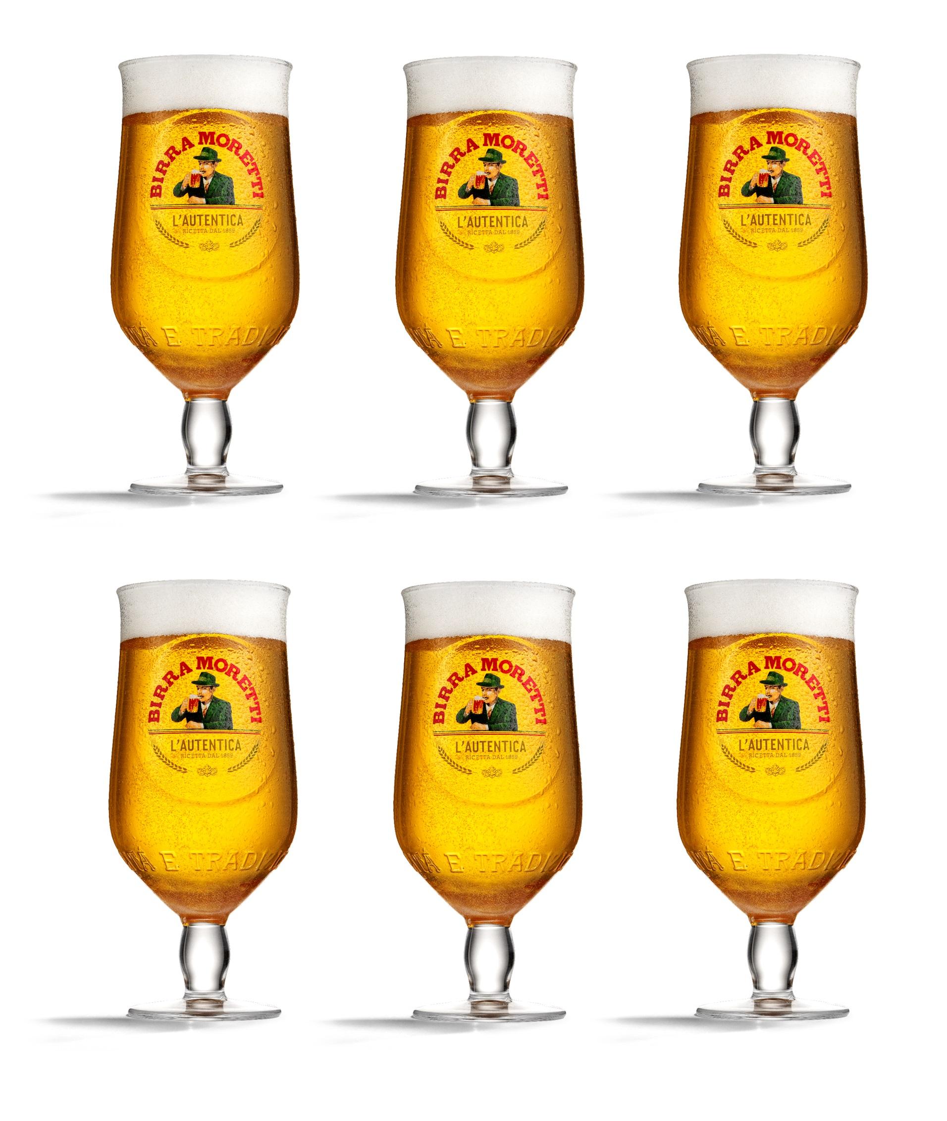 Birra Moretti Bierglazen 25 cl - 6 Stuks