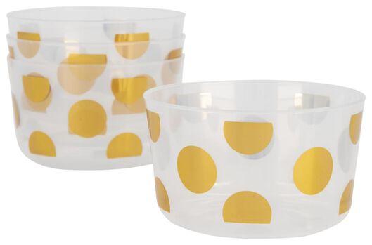 HEMA Plastic Bakjes Herbruikbaar - Ø11 Cm - Gouden Stippen - 4 Stuks